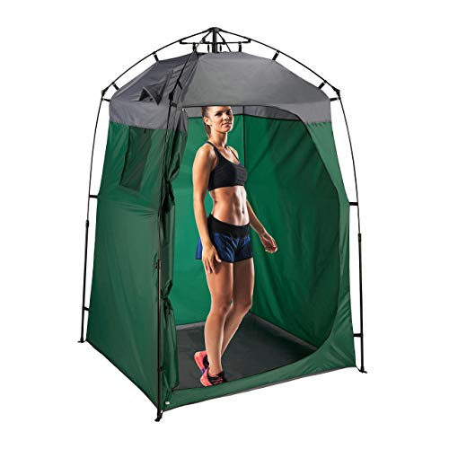 Relaxdays Umkleidezelt, XXL Stehzelt für Camping & Garten, Outdoor, Pop Up Kabine, 275 x 156,5 x 154 cm, dunkelgrün/grau