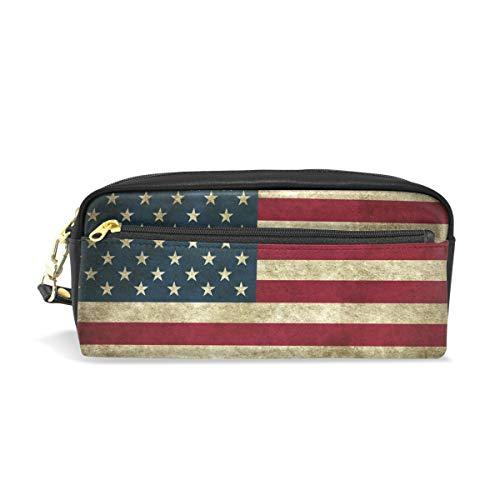 CPYang Federmäppchen Vintage USA Amerika Flagge Leder Federmäppchen Reißverschluss Stiftehalter Student Schreibwaren Kosmetik Make-up Tasche