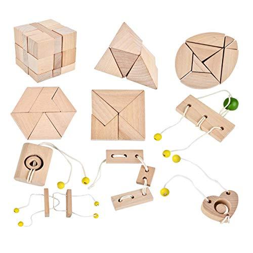 B&Julian - Rompecabezas de madera 3D  Juego de 10 mini rompecabezas de madera. Juguetes, ideas, calendario de adviento