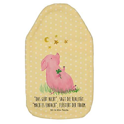 Mr. & Mrs. Panda Kinderwärmflasche, Wärmekissen, Wärmflasche Glücksschwein mit Spruch - Farbe Gelb Pastell