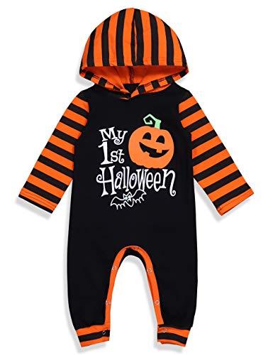 Ttkgyoe Halloween Baby Boy Girl Outfit Mein erster Halloween Kürbis Hoodie Strampler Body Einteiliger Overall 100/12-18 Monate
