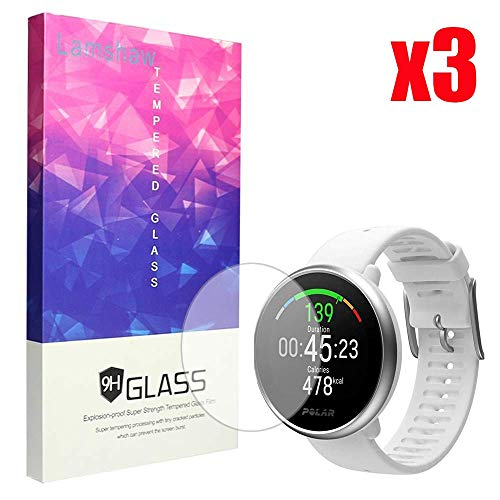 for Polar Ignite Screen Protector, Lamshaw 9H Tempered Glass Screen Protector for Polar Ignite Fitness Watch (3 Pack)