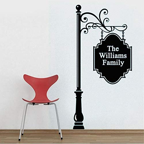 Personalized Name Wall Vinyl Sticker, Street Sign, Swirl, Wrought Iron, Welcome Sign, Custom Family Decor, Home Wall Art 57x120CM