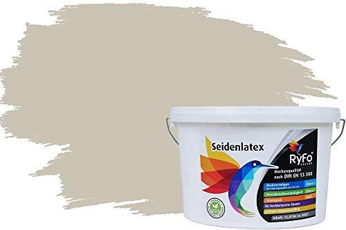 RyFo Colors Seidenlatex Trend Grautöne Lichtgrau 12,5l - bunte Innenfarbe, weitere Grau Farbtöne und Größen erhältlich, Deckkraft Klasse 1