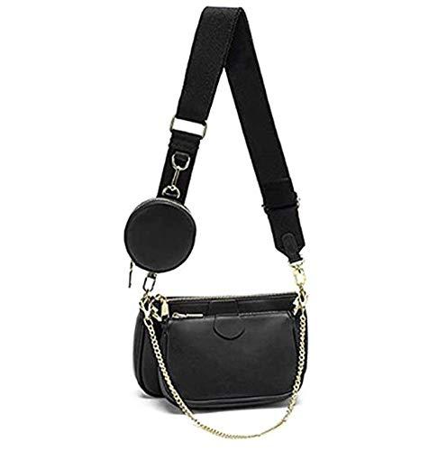 Mehrzweck Umhängetasche Damen Crossbody-Taschen Multi-Tasche 3-Teilig Geldbörse Reißverschluss Mode Handtaschen mit Münzbeutel, Schwarz
