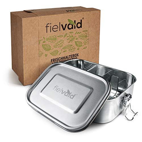 FIELVALD® Lunchbox Edelstahl mit Trennwand - 800ml Brotdose für Kinder & Erwachsene - auslaufsichere Brotbox inkl. Ersatzdichtungsring & praktischer Geschenkbox