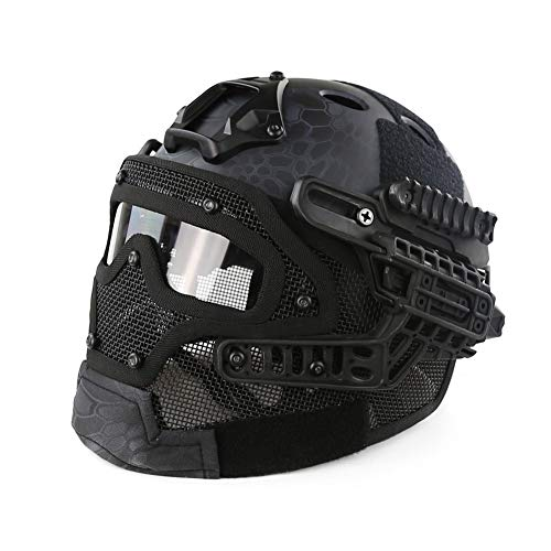PJ Fast Tactical Helm Airsoft Paintball Schutzhelm Full Face Mask Goggle Outdoor Sport Jagd CS Game, TY