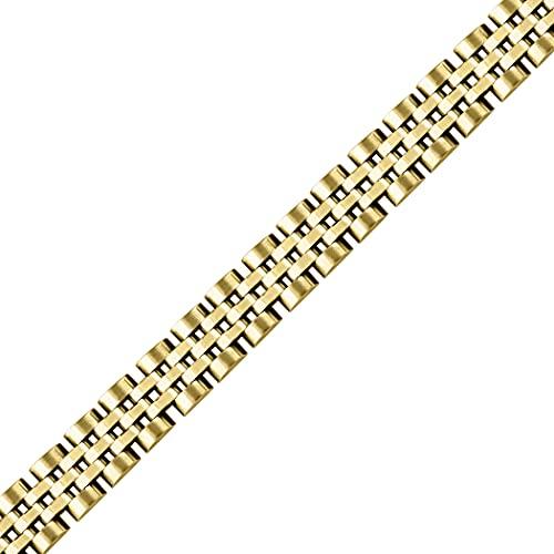 Pulsera presidencial de acero inoxidable para hombre de tono amarillo de 10 mm, pulsera de identificación de 7 pulgadas, regalos de joyería para hombres