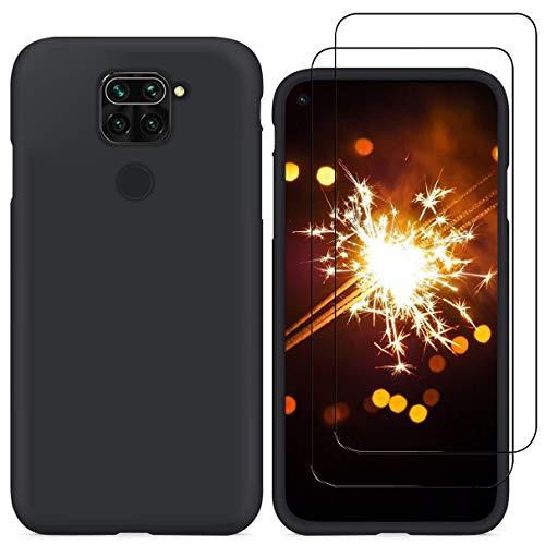 YiKaDa - Funda para Xiaomi Redmi Note 9 + [2 Unidades] Cristal Templado Protector de Pantalla, Cáscara Suave de Silicona TPU Líquida Funda Forro de Gamuza de Microfibra Suave Cojín - Negro