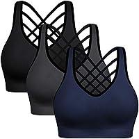 3-Pack BHRIWRPY Women's Padded Strappy Sports Bra