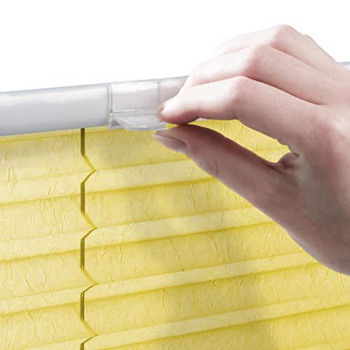 casa pura® Plissee Rollo   mit eleganter Crushed Optik   Klemmfix ohne Bohren   lichtdurchlässig & blickdicht   gelb   8 Größen (55x200cm) - 6