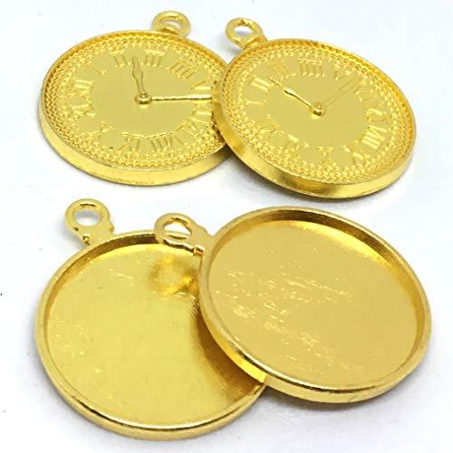 ストアーズクラブ 懐中時計のミール皿 チャーム レジン枠(4個)オープンフェイス 手芸