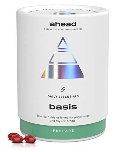 ahead BASIS | Vitamin D3 + K2 + Omega 3 + Magnesium hochdosiert Kapseln - 180 Kapseln - Premium Omega 3 Kapseln in Triglycerid Form mit Astaxanthin und Pfefferminzöl gegen Fischgeschmack