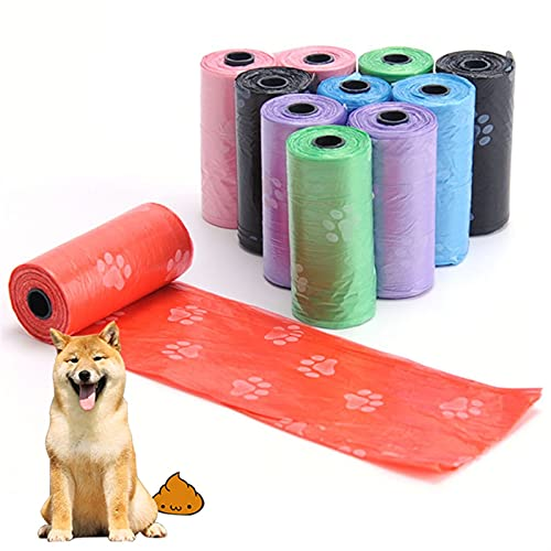 10roll Perro recogiendo Bolsas de Caca al Aire Libre Limpieza Conveniente Impresión for Mascotas Suministros for Mascotas al por Mayor Home Cat Relleno Bolsa de Basura