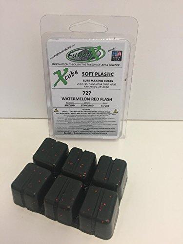 Fusion X Fishing - Xcube Soft Plastic Plastisol Fishing Lure Making Cubes - Single Pack 2.8 fl oz - 225 Colors - Make Your own Soft Plastic Rubber Fishing Lures. (727 - Watermelon Red Flash)