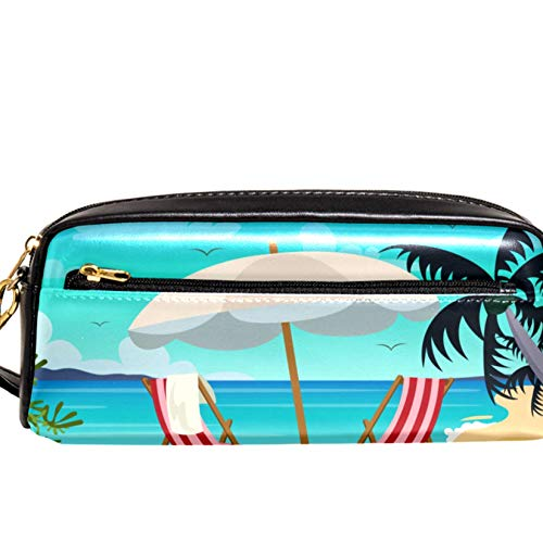 Bennigiry Tumbona y paisaje de playa Estuche para lápices de gran capacidad con ojo de estuche para bolígrafos para niños y estudiantes, bolsa para viajes, escuela, pequeña bolsa de cosméticos