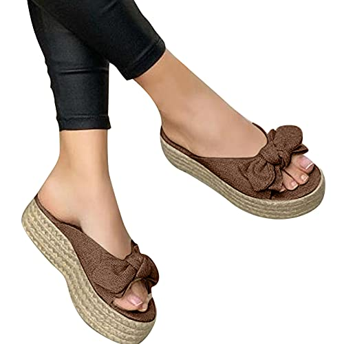 Zapatos de verano cómodos, sandalias de playa para mujer, sandalias con suela gruesa, lazo, sandalias planas, sandalias, pantuflas con punta abierta, pantuflas tejidas