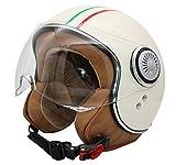 MONACO Jet-Helm mit Visier, Retro Pilot-Helm für Brillen-Träger, Roller-Helm für Frauen und Herren im Vintage-Look, Motorrad-Helm, Creme- Italia, Qualität nach ECE-Norm, S