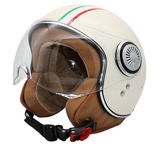 MONACO Jet-Helm mit Visier, Retro Pilot-Helm für Brillen-Träger, Roller-Helm für Frauen und Herren im Vintage-Look, Motorrad-Helm, Creme- Italia, Qualität nach ECE-Norm, M