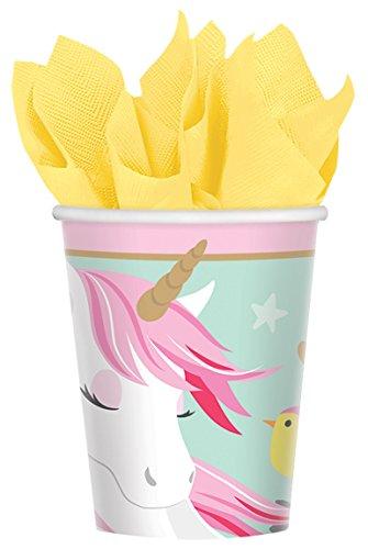 Amscan 581929 Vasos de papel de unicornio mágico, 266 ml