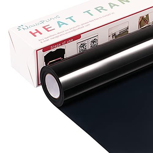 NANAPLUMS Plotterfolie Textil, 30.5cm×4m Transferfolie Plotter Flexfolie für Cricut und Silhouette Cameo, Verwendet in Textilien Transferfolie zum Aufbügeln für DIY T-Shirt, Stoffe(Schwarz)