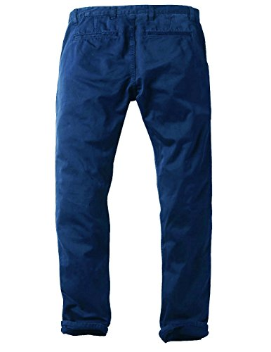 Match Mens Slim-Tapered Flat-Front Casual Pants(Sapphire blue,32)