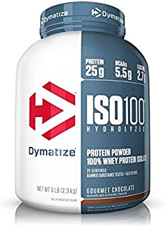 Dymatize ISO 100 Whey Protein Powder with 25g of Hydrolyzed 100% Whey Isolate, Gluten Free, Fast Digesting, Gourmet Chocolate, 5 Pound