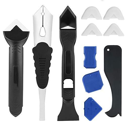 JTENG Sellador de silicona transparente, kit de raspador de silicona Herramienta de lechada profesional para todos los selladores de cocinas y marcos (11PCS)