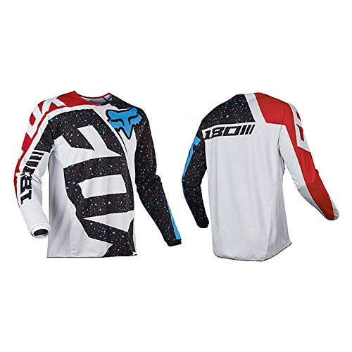 HFJLL Mountain Bike Motocross Jersey Camiseta de Manga Larga - Traje de Descenso al Aire Libre a Prueba de Viento,No.21,L