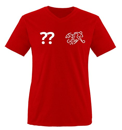 Trikot - CH - WUNSCHDRUCK - Herren V-Neck T-Shirt - Rot/Weiss Gr. XXL