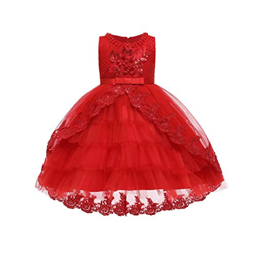 LuckyGirls Dress Little Girl Elegant Princess Princess Baptême Dress Party Girls Kids Birthday Dresses Carnival Casual Sleeveless Dresses