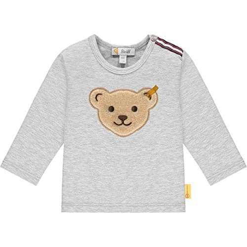 Steiff Baby-Jungen T-Shirt Langarm, Soft Grey Melange, 062