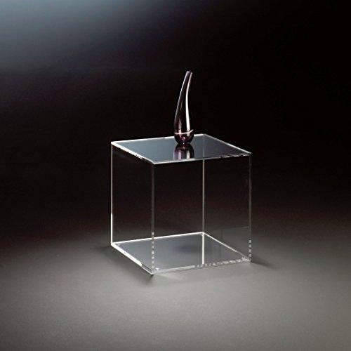 HOWE-Deko Design cubo/tavolino di appoggio in Vetro Acrilico di Alta qualità, Transparente, 45 x 45 cm, A 45 cm, Spessore Vetro Acrilico 8 mm