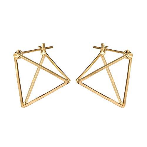 msyou Simple pendientes creativo triángulo tridimensionnel huecas pendientes retro pendientes pendientes 2.3 * 2.3cm dorado