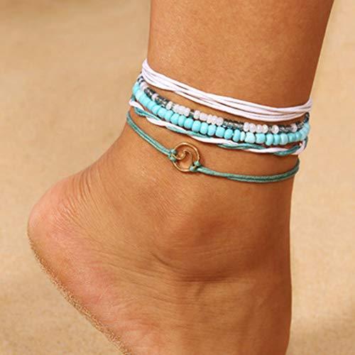 Simsly Boho Türkis Fußkettchen gewebt Knöchel Armband Perlen Fuß Zubehör Schmuck für Frauen und Mädchen (blau / 5 Stück)