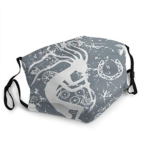ZVEZVI The Kokopelli Themed Garbage Tribe Is A Of Fertility And Native American Culture And Art Dustproof Windproof Face Mask,Reusable,Washable Cloth,Face Cover,Cover For Dust Men Women