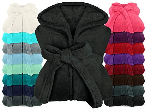 npluseins extra weicher Kapuzen-Bademantel aus Kuschelfleece - in modernen Farben und verschiedenen Größen - Unisex & wadenlang, S, schwarz