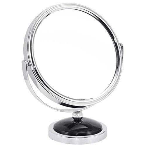 Miroirs Bureau Princesse Beauté Loupe HD Double-Face Grand 7 Pouces Petit 5 Pouces 360 Degrés de Rotation (Couleur : Noir, Taille : 8.5 * 12 * 13.5cm)