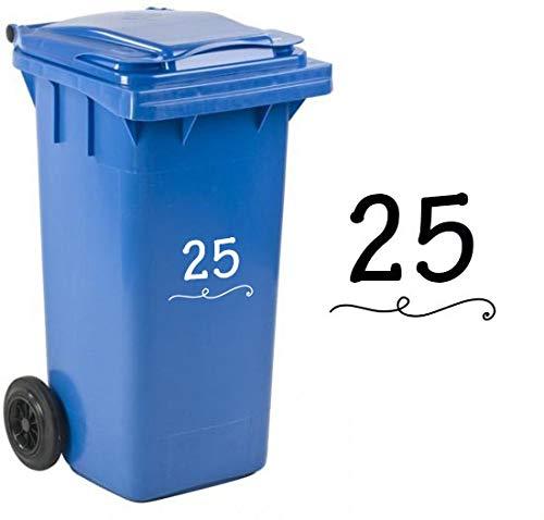 My Family Kliko/Container Sticker- wit - 2 stuks - 21 cm x 14 cm - gepersonaliseerd met huisnummer