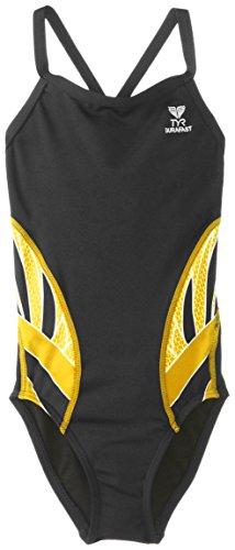TYR Sport Girl' s Phoenix Splice Diamondfit Swimsuit, Donna, Black/Gold, 24