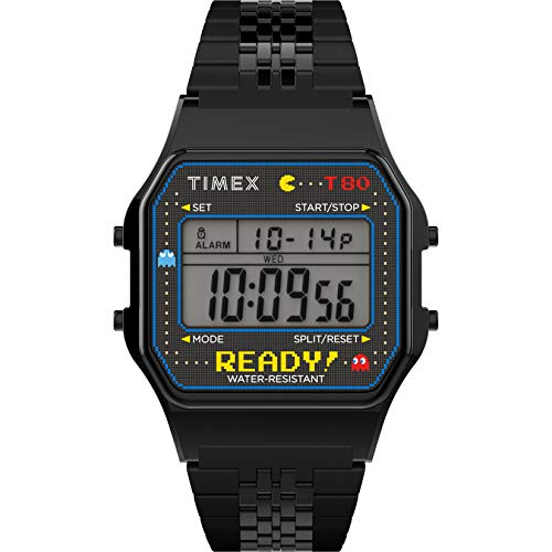 Timex T80 x PAC-MAN 40th Anniversary 34mm Digital Watch – Black Ready! with Stainless Steel Bracelet