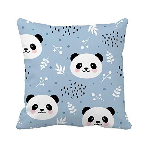 N\A Throw Pillow Cover Acuarela Animal Lindo Panda Bosque Flores y Puntos Patrón Funda de Almohada Funda de Almohada Cuadrada Decorativa para el hogar Funda de cojín