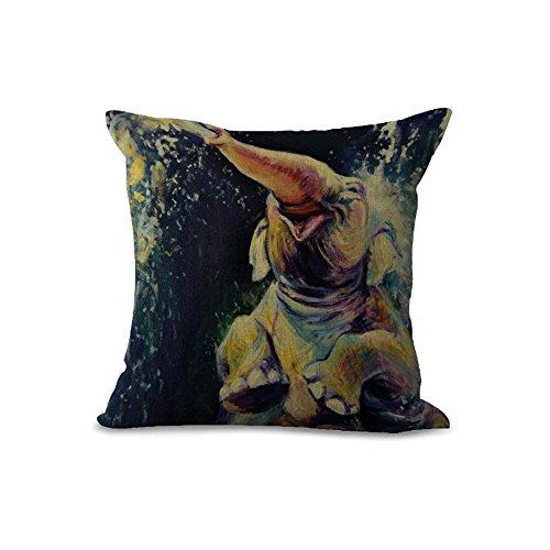 Housses de coussin Coussinets /45cmx45 cm Elephant Peinture Série Gris Noir de couleur beige en coton et lin coussin pour canapé My-a1095–01