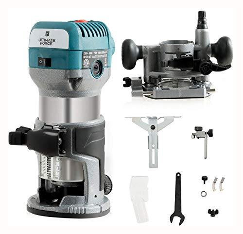 HomyDelight Polisher & Buffer, 1.25 Palm Router Kit Variable Speed Woodworking with Plunge Base