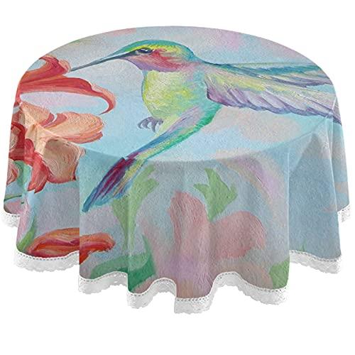 Oarencol - Tovaglia rotonda in poliestere lavabile, motivo: colibrì, 150 cm, per buffet, feste, cene, picnic