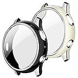 Quanerba [2 Pack] Funda Protectora para Samsung Galaxy Watch Active 2 40mm, Borde de Dos Colores, Suave Cubierta TPU Silicona con Protector de Pantalla (40mm, Negro+Blanco, Plata Borde)