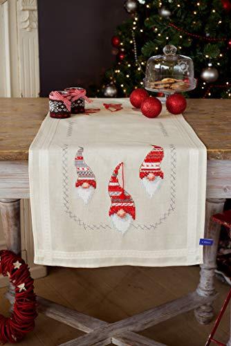 Vervaco Kreuzstichpackung Tischläufer Kreuzstich vorgedruckt, Baumwolle, weiß, 40 x 100 x 0,3 cm