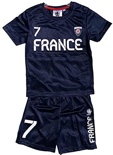 TVM Europe Frankreich France Trikotset Fußball Länder Kinder Jungen + Mädchen Alter 5 6 7 8 9 10 11 12 JahreTrikot + Hose Rot - Grün Gr.116 128 140 152 (Navy, 116)