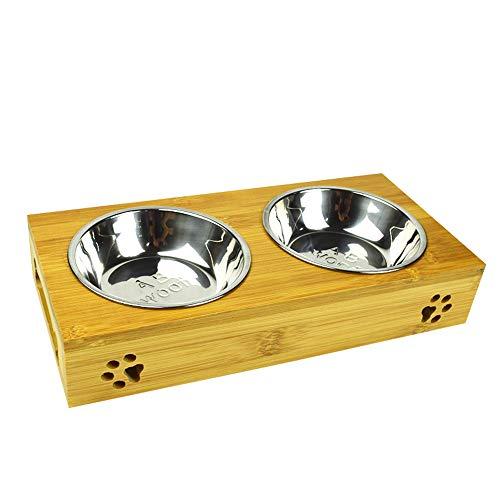 MIGHTYDUTY - Ciotole Rialzate per Animali Domestici con 2 Ciotole in Acciaio Inox per Cibo e Acqua, Ciotole per Cani e Gatti in bambù