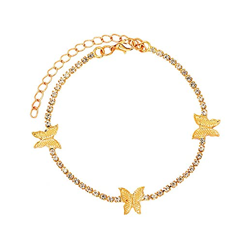 2021 Tobilleras de mariposa de cristal helado para mujer, pulsera de tobillo con cadena de diamantes de imitación, joyería femenina descalza de playa, 004601GD
